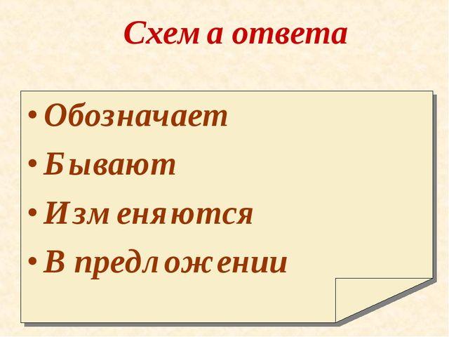 Схема ответа Обозначает Бывают Изменяются В предложении