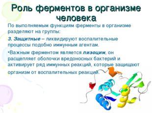 Роль ферментов в организме человека По выполняемым функциям ферменты в органи