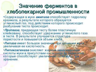 Значение ферментов в хлебопекарной промышленности Содержащая в муке амилаза с
