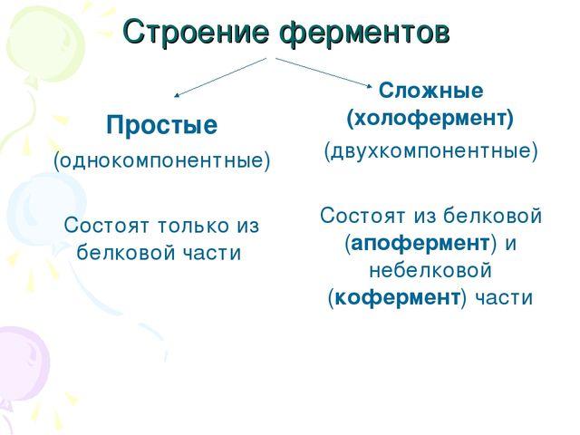 Строение ферментов Простые (однокомпонентные) Состоят только из белковой част...