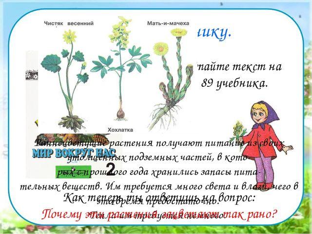 Работа по учебнику. Прочитайте текст на стр. 89 учебника. Раннецветущие раст...
