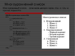 Многоуровневый список Многоуровневые списки  Нумерованный  Пункт 1 Пунк