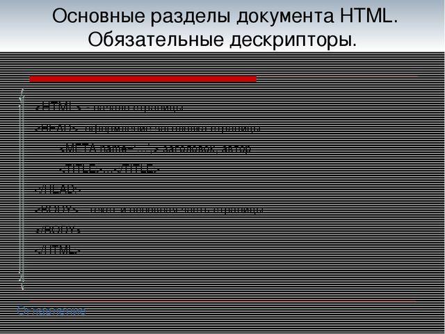 Основные разделы документа HTML. Обязательные дескрипторы.  - начало страниц...