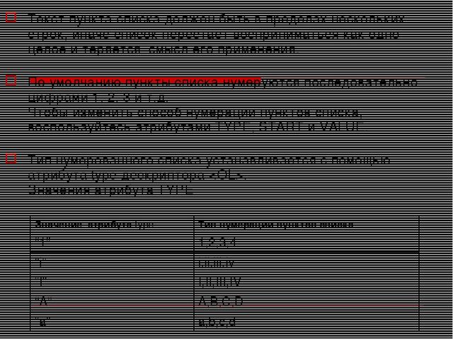 Текст пункта списка должен быть в пределах нескольких строк, иначе список пер...