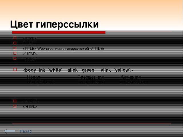 Цвет гиперссылки    Web-страница с гиперссылкой       Новая гиперссылка Посе...