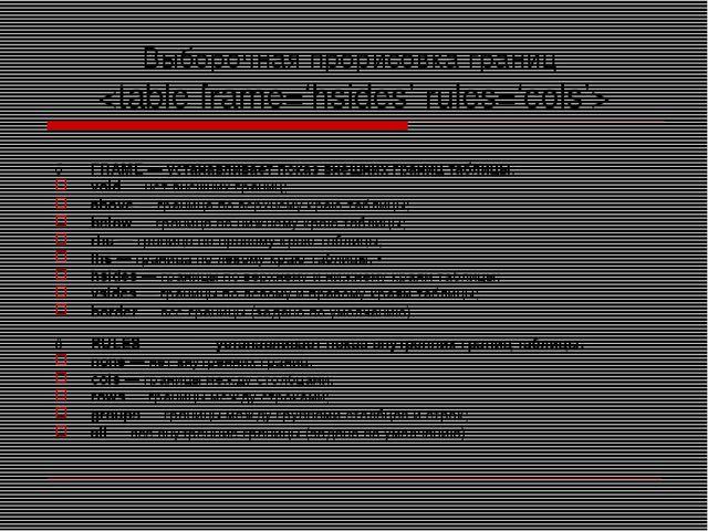 Выборочная прорисовка границ  ♦FRAME — устанавливает показ внешних границ та...