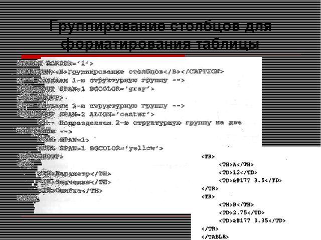 Группирование столбцов для форматирования таблицы