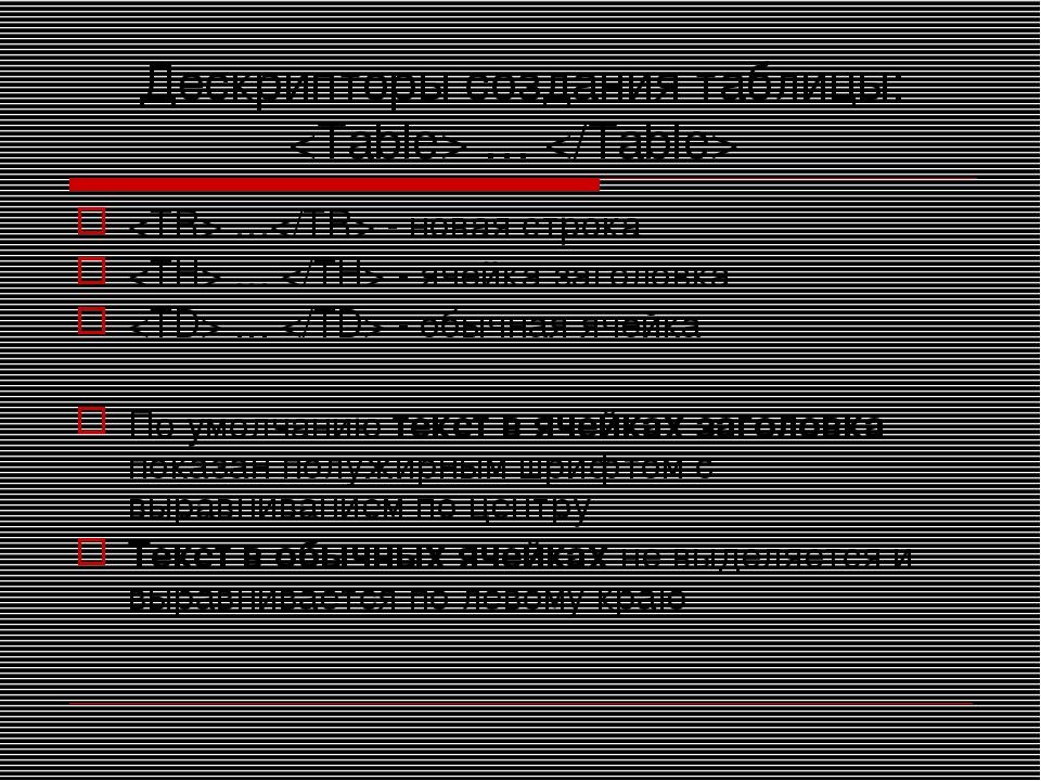 Дескрипторы создания таблицы:  …   … - новая строка  …  - ячейка заголовка  …...