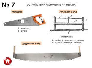 УСТРОЙСТВО И НАЗНАЧЕНИЕ РУЧНЫХ ПИЛ № 7 Ножовка Лучковая пила Двуручная пила 1