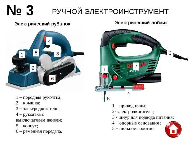 РУЧНОЙ ЭЛЕКТРОИНСТРУМЕНТ № 3 Электрический лобзик Электрический рубанок 1 – п...