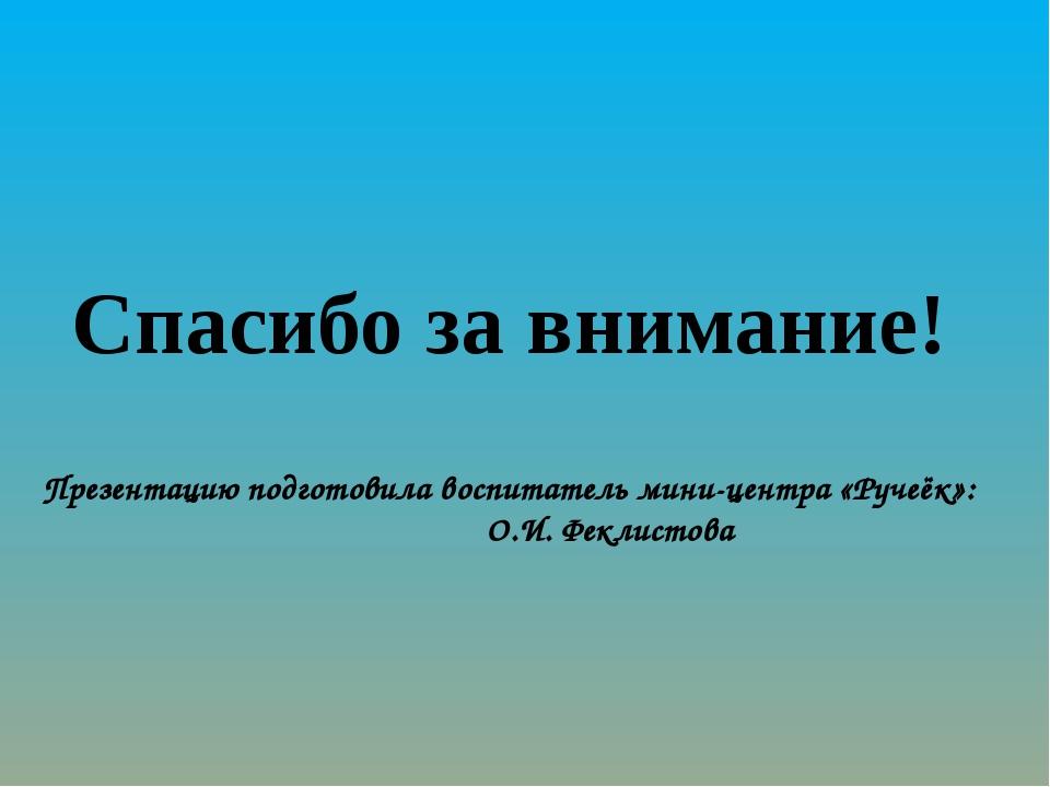 Спасибо за внимание! Презентацию подготовила воспитатель мини-центра «Ручеёк...