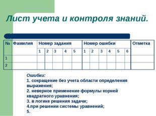 Лист учета и контроля знаний. Ошибки: 1. сокращение без учета области опреде