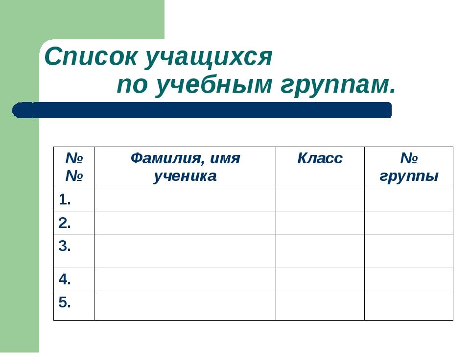 Список учащихся по учебным группам. №№ Фамилия, имя ученика Класс № группы 1....