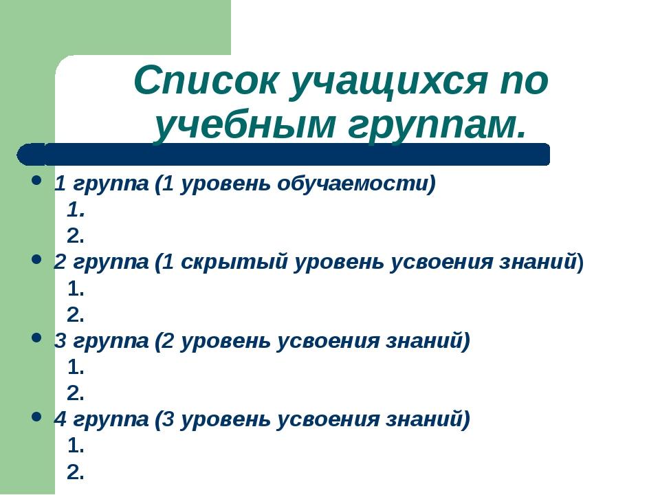 Список учащихся по учебным группам. 1 группа (1 уровень обучаемости) 1. 2. 2...