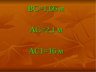 BC=1,66 м АС=2,1 м AC1=16 м