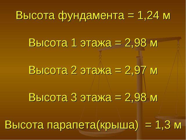 Высота фундамента = 1,24 м Высота 1 этажа = 2,98 м Высота 2 этажа = 2,97 м Вы...