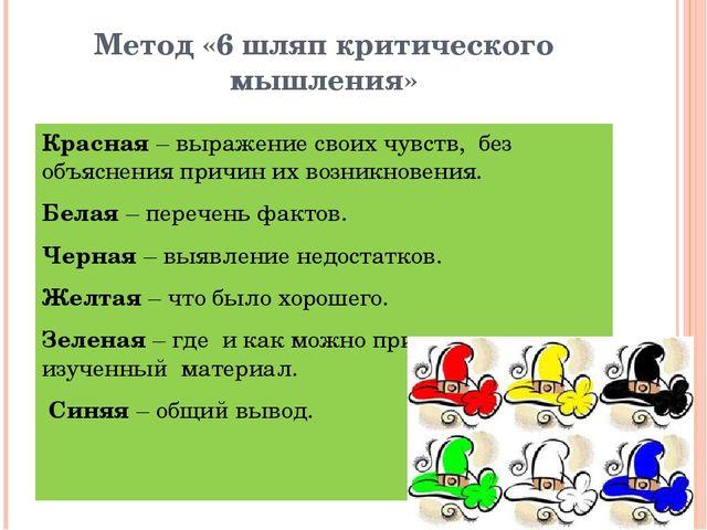 Метод «6 шляп критического мышления» Красная – выражение своих чувств, без о...