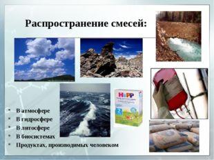 Распространение смесей: В атмосфере В гидросфере В литосфере В биосистемах Пр