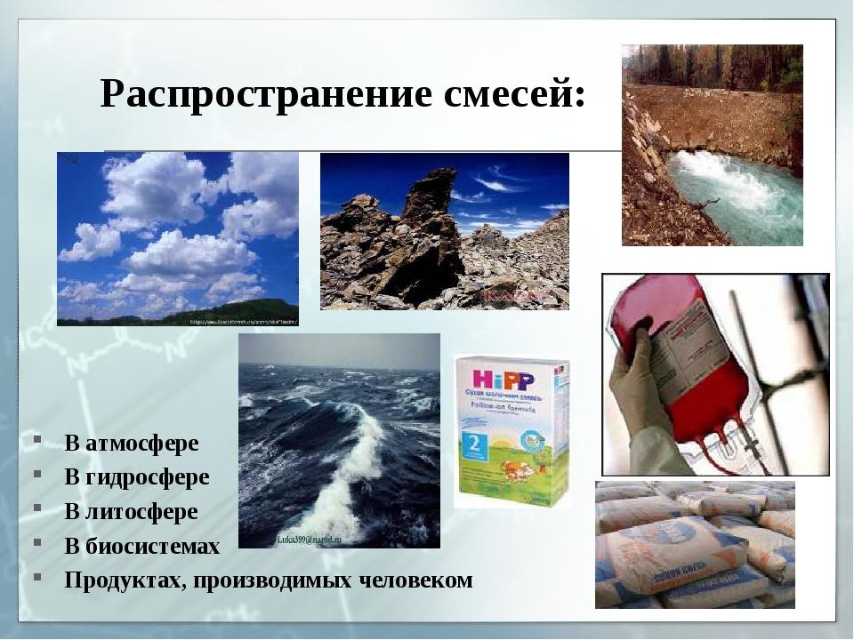 Распространение смесей: В атмосфере В гидросфере В литосфере В биосистемах Пр...
