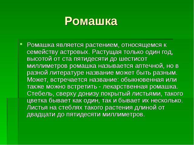 Ромашка Ромашка является растением, относящемся к семейству астровых. Растущ...