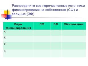 Распределите все перечисленные источники финансирования на собственные (СФ) и