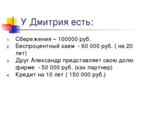 У Дмитрия есть: Сбережения – 100000 руб. Беспроцентный заем - 60 000 руб. ( н