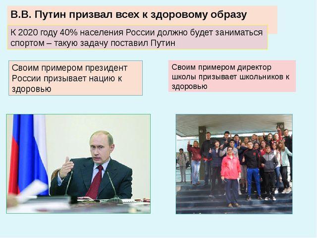 В.В. Путин призвал всех к здоровому образу жизни К 2020 году 40% населения Ро...