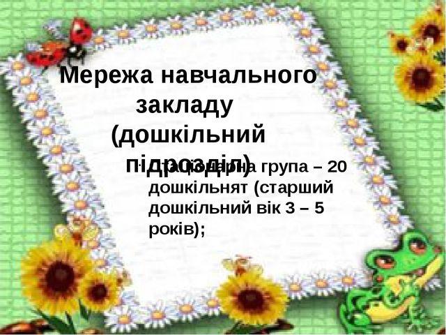 Мережа навчального закладу (дошкільний підрозділ) Стаціонарна група – 20 дош...