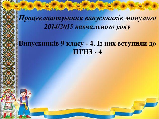 Працевлаштування випускників минулого 2014/2015 навчального року Випускників...