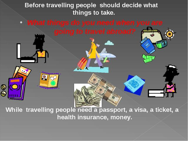 Before travelling people should decide what things to take. What things do yo...
