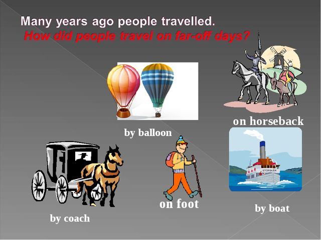 on foot by boat on horseback by coach by balloon