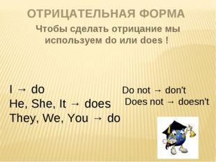 ОТРИЦАТЕЛЬНАЯ ФОРМА Чтобы сделать отрицание мы используем do или does ! I → d