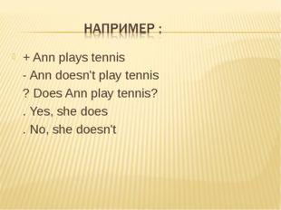 + Ann plays tennis - Ann doesn't play tennis ? Does Ann play tennis? . Yes, s