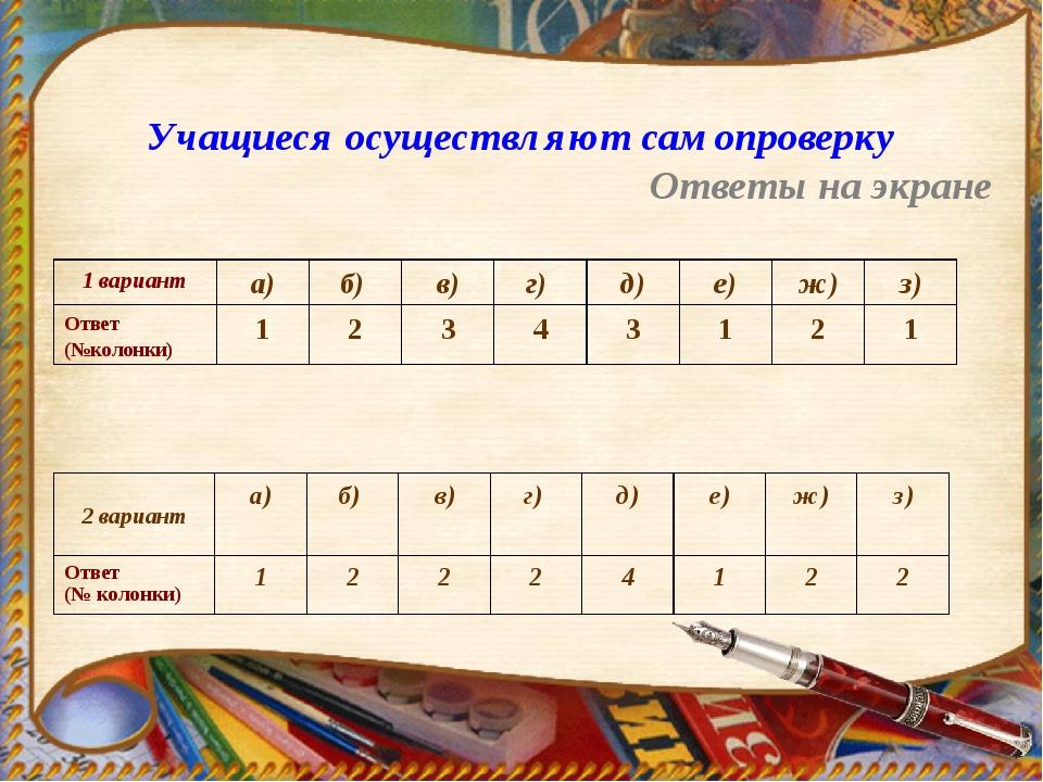 Учащиеся осуществляют самопроверку Ответы на экране 1 варианта)б) в)г) д...