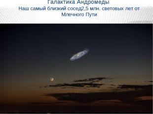 Галактика Андромеды Наш самый близкий сосед2,5 млн. световых лет от Млечного