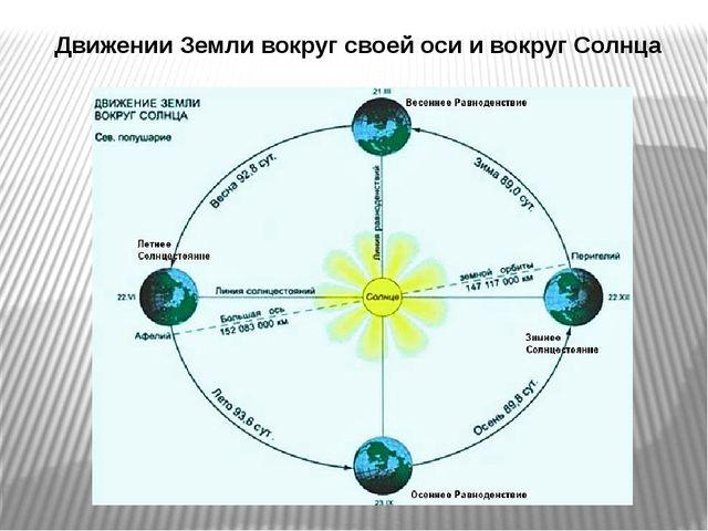 Движении Земли вокруг своей оси и вокруг Солнца
