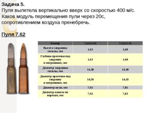 Задача 5. Пуля вылетела вертикально вверх со скоростью 400 м/с. Каков модуль
