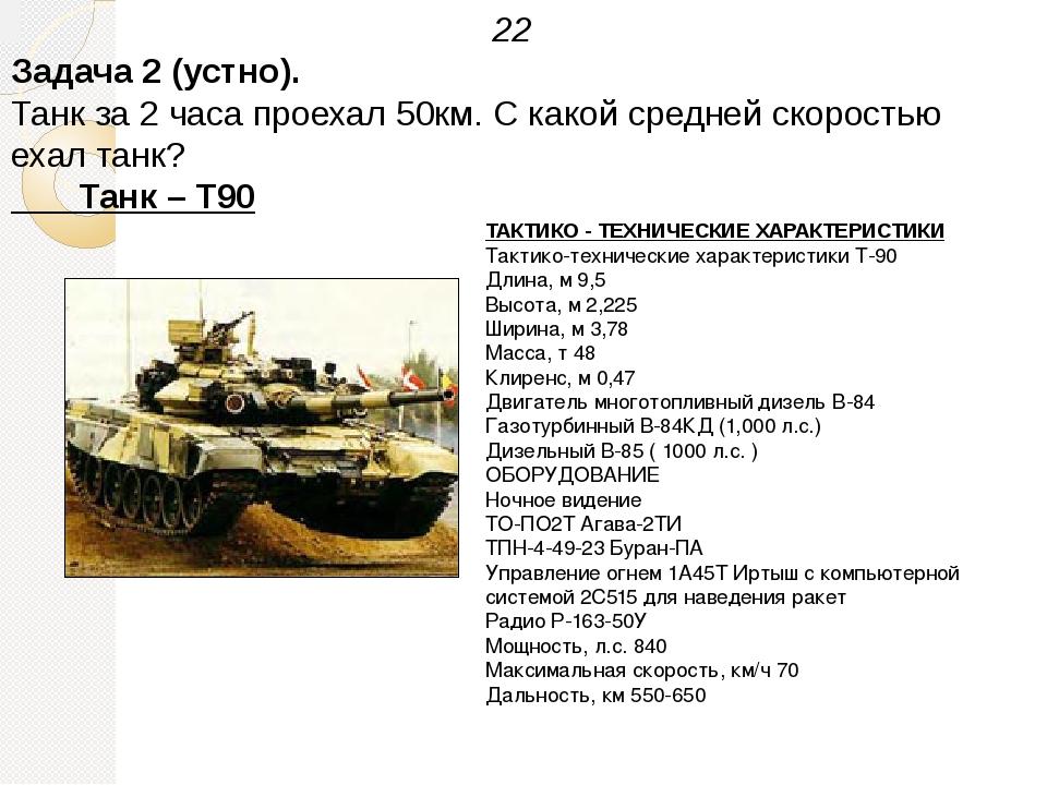 ТАКТИКО - ТЕХНИЧЕСКИЕ ХАРАКТЕРИСТИКИ Тактико-технические характеристики Т-90...
