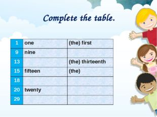 Complete the table. 1	one	(the) first 9	nine	 13		(the) thirteenth 15	fifteen