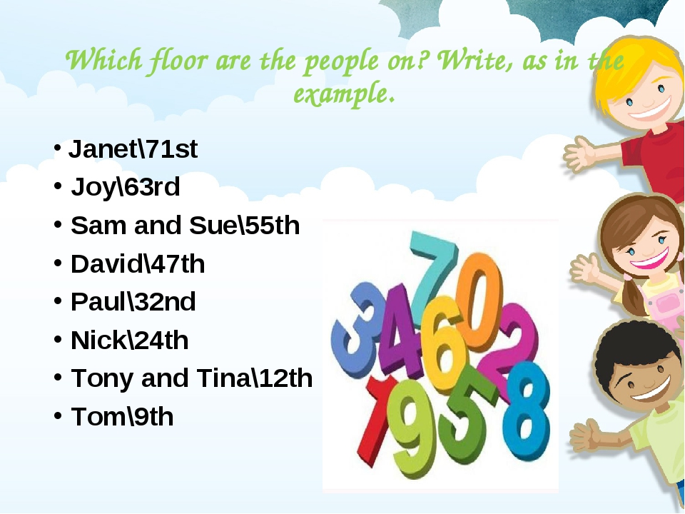 Which floor are the people on? Write, as in the example. Janet\71st Joy\63rd...