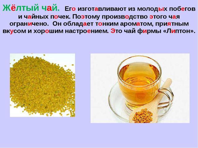 Жёлтый чай. Его изготавливают из молодых побегов и чайных почек. Поэтому прои...