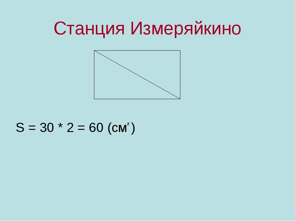 Станция Измеряйкино S = 30 * 2 = 60 (см ) 2