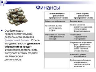 Финансы Особым видом предпринимательской деятельности является финансовый биз