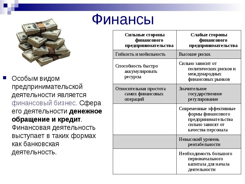 Финансы Особым видом предпринимательской деятельности является финансовый биз...