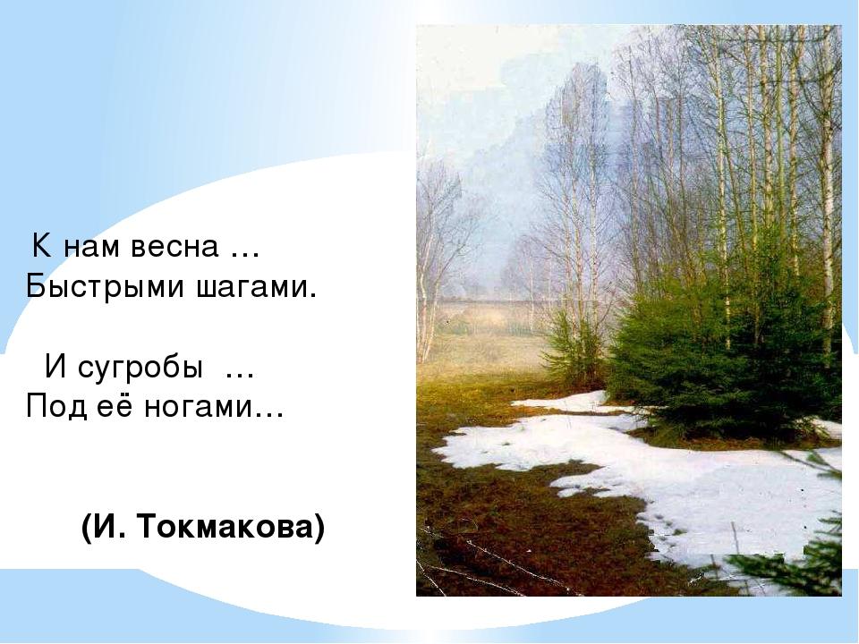 К нам весна … Быстрыми шагами. И сугробы … Под её ногами… (И. Токмакова)