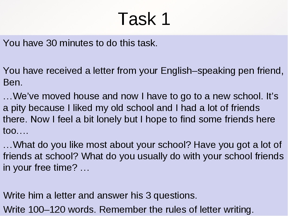 Task 1 You have 30 minutes to do this task. You have received a letter from y...