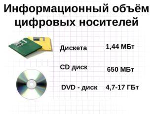 Дискета CD диск 1,44 МБт 650 МБт Информационный объём цифровых носителей DVD