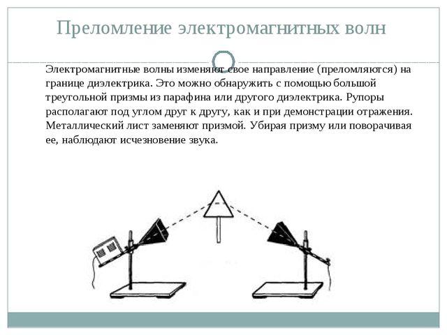 Преломление электромагнитных волн Электромагнитные волны изменяют свое направ...