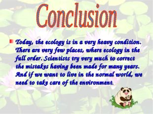 Today, the ecology is in a very heavy condition. There are very few places,