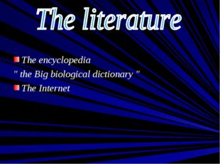 "The encyclopedia "" the Big biological dictionary "" The Internet"